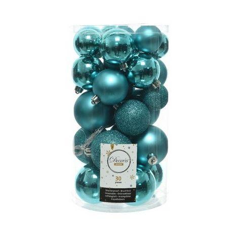 Kaemingk Shatterproof Baubles (Pack of 30) (Pack of 30) (Turquoise)