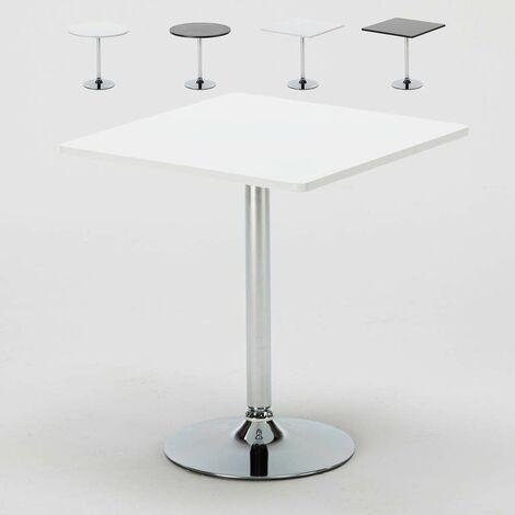 Kaffee Tisch rund und quadratisch Weiß Schwarz 70x70 BISTROT