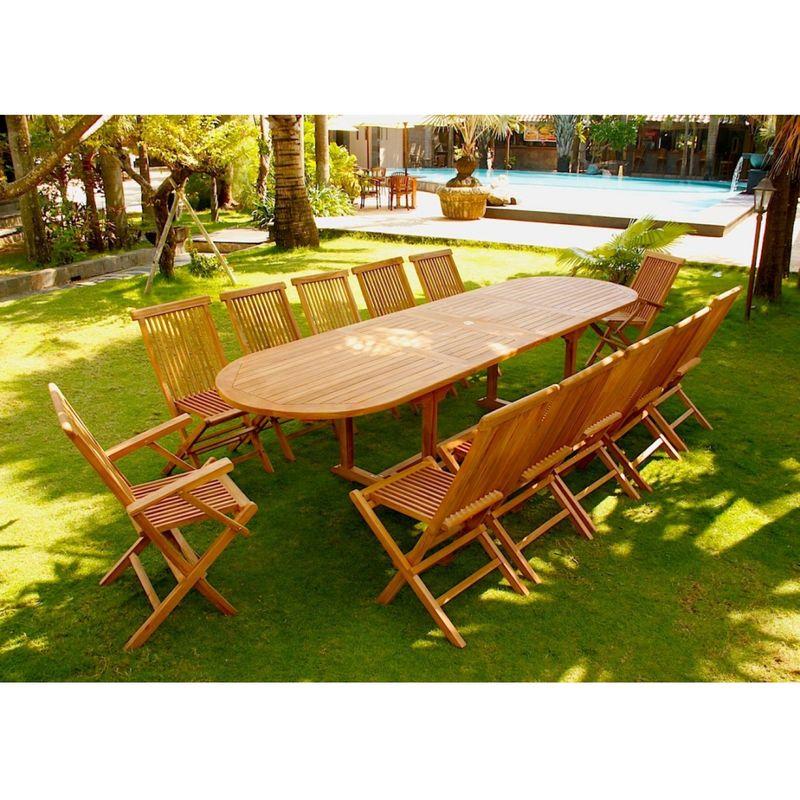 Kajang: Salon de jardin Teck brut 12/14 pers - Table ovale 90 cm + 10  chaises + 2 fauteuils