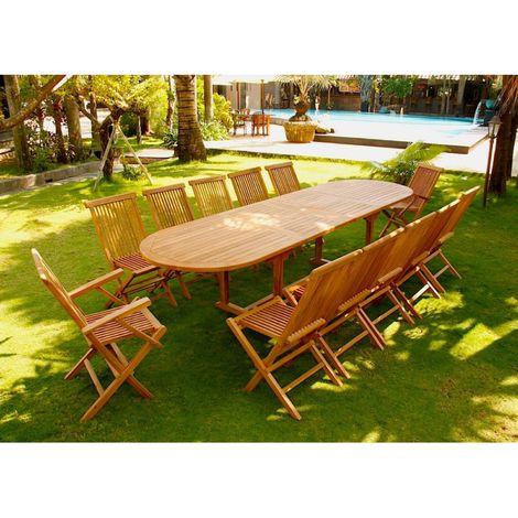 Kajang: Salon de jardin Teck brut 12/14 pers - Table ovale 90 cm + ...