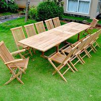 Kajang: Salon de jardin Teck brut 12/14 pers - Table rectangulaire 90 cm +  10 chaises + 2 fauteuils