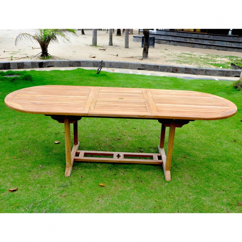 Kajang: Salon de jardin Teck massif 10/12 pers - Table ovale + 10 ...