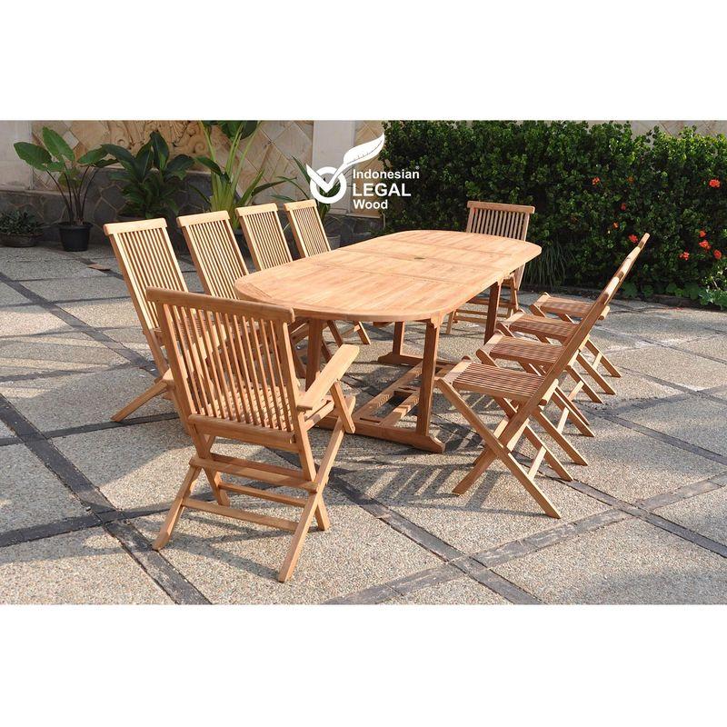 Kajang : Salon de jardin Teck massif 10 personnes - Table ovale + 8 chaises  + 2 fauteuils
