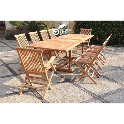 Kajang : Salon de jardin Teck massif 10 personnes - Table rectangulaire + 8 chaises + 2 fauteuils