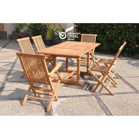 Kajang : Salon de jardin Teck massif 6 personnes - Table rectangle + 4 chaises + 2 fauteuils