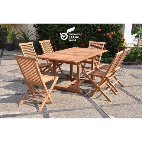 Kajang : Salon de jardin Teck massif 6 personnes - Table rectangle + 6 chaises