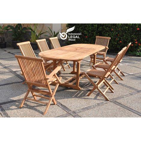 Kajang : Salon de jardin Teck massif 8 personnes - Table ovale + 6 ...