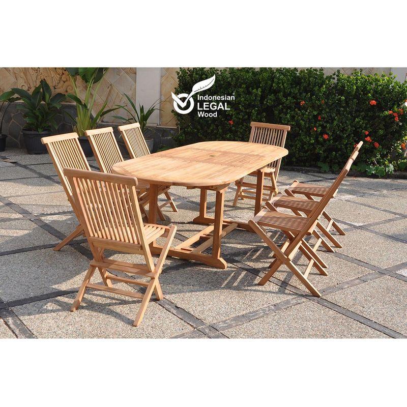 Kajang : Salon de jardin Teck massif 8 personnes - Table ovale + 8 chaises