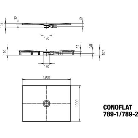 Kaldewei Conoflat 789-1 100x120cm, Coloris: Noir Lavash Mat - 465900010717