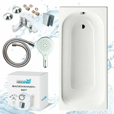 Kaldewei Stahl-Badewanne, Optional Styroporträger, mit Grohe Wannenbatterie, Design Brauseset