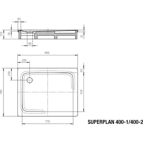 Kaldewei Superplan 400-2 70x90cm avec support en polystyrène, Coloris: Blanc, avec effet nacré - 430048043001