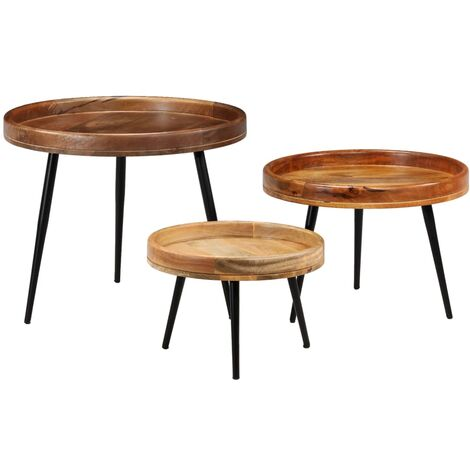 Kaleb Solid Mango Wood and Steel 3 Piece Nest of Tables by Union Rustic - Brown