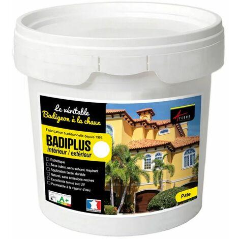 Kalkfarbe für drinnen und draußen - BADIPLUS - MYKONOS Rein-Weiß - 20 kg-Kit, bis zu 100 m²