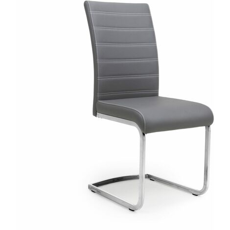 Kally Leather Effect Grey Chair