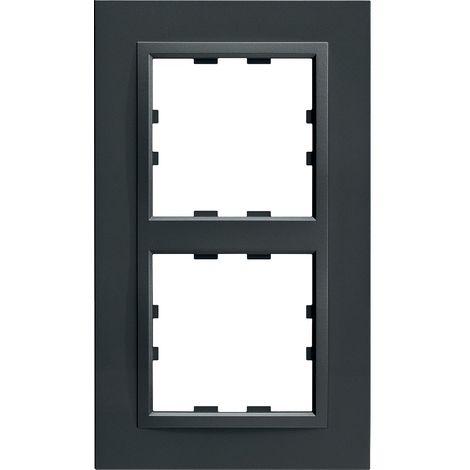 Kallysta épure plaque 2 postes verticale entraxe 71 peinture métal col carbone