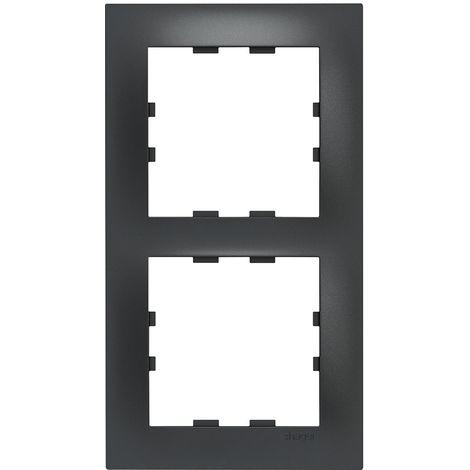 Kallysta pop plaque 2 postes verticale entraxe 71 coloris carbone