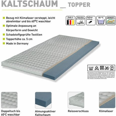 Kaltschaum-Topper-75 weiß für Liegefläche 90/120/140/160/180 x 200 cm