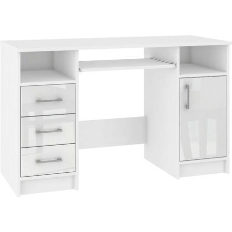 KAMA - Bureau informatique moderne 124x74x52 cm - 3 tiroirs + support clavier + niches - Table ordinateur/Mobilier bureau - Blanc laqué