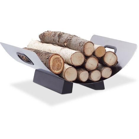 Kaminholzkorb Edelstahl, Feuerholzkorb modern, Brennholzkorb Metall, Holzlege, HxBxT: 16 x 41 x 33 cm, silber