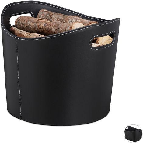 Kaminholzkorb Kunstleder L, stabiler Feuerholzkorb mit Tragegriffen, für Brennholz & Zeitungen, oval, schwarz