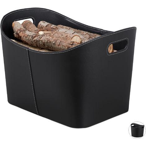 Kaminholzkorb Kunstleder XL, stabiler Feuerholzkorb mit Tragegriffen, für Brennholz & Zeitungen, oval, schwarz