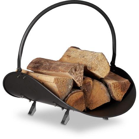 Kaminholzkorb schwarz, Brennholzkorb groß, Holzwiege Kamin, Feuerholzkorb Metall, HxBxT 40 x 38 x 48 cm, black