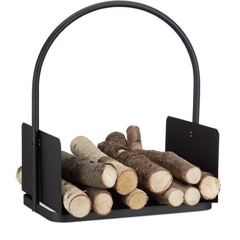Kaminholzkorb schwarz, Brennholzkorb groß, Holzwiege Kamin, Feuerholzkorb Metall, HxBxT 47 x 40 x 30 cm, black