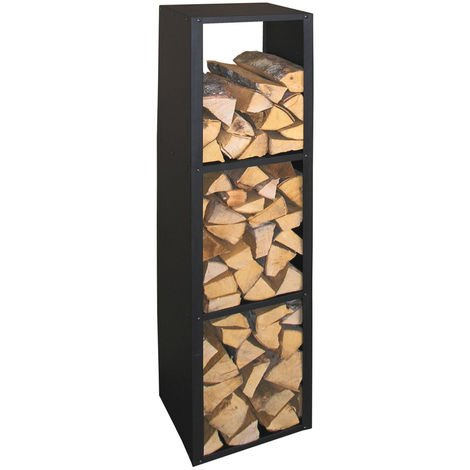 Kaminholzregal Brennstoffregal Holzaufbewahrung - Metall - schwarz beschichtet