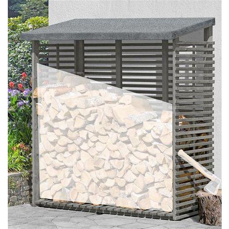 kaminholzregal flammo s mit r ckwand ki grau 188x69x183cm 66012. Black Bedroom Furniture Sets. Home Design Ideas