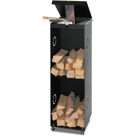 Kaminholzregal,Brennstoffregal, Holzaufbewahrung-auf Rollen- schwarz beschichtet