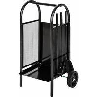 Kaminholzwagen mit Schaufel, Schürhaken und Besen - Kaminbesteck, Holzkorb, Ofenbesteck - schwarz