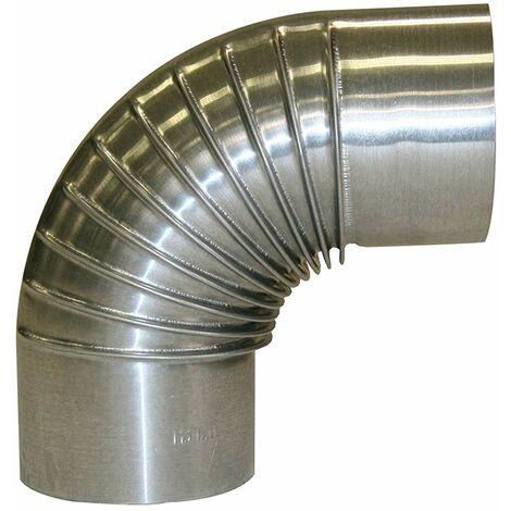 Kamino - Flam Coude Plissé Aluminié de Raccordement 90° Ø 150 mm, Tuyau de Poêle Coudé sans Trappe de Visit