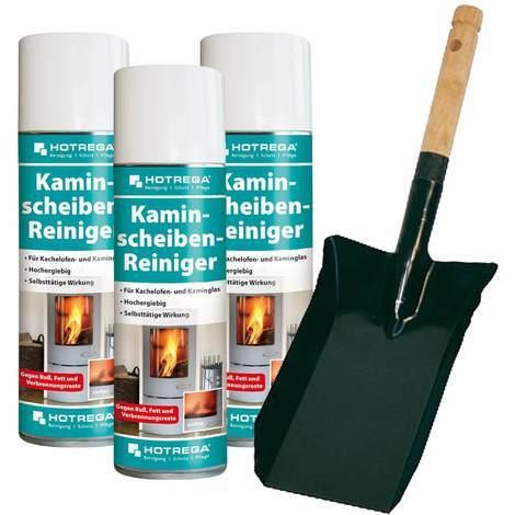 Kaminscheiben Reiniger 3 Stück entfernt mühelos Ruß von Kachelofen- und Kaminglas inkl. Kohlenschaufel HOTREGA - 15716