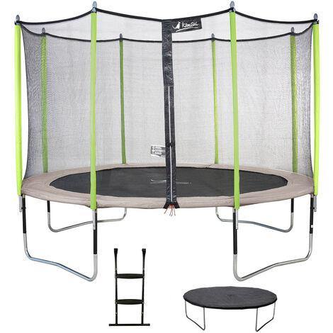 Kangui - Trampoline de jardin 244 cm + filet de sécurité + échelle + bâche de protection JUMPI Taupe/Vert 250 - Vert