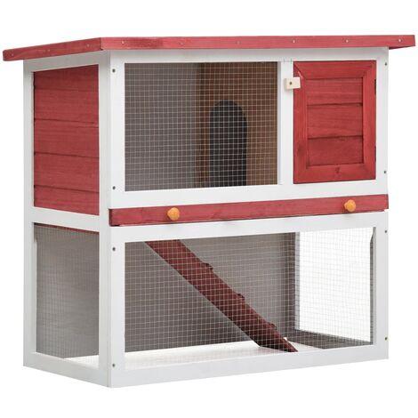 Kaninchenstall 1 Tür Rot Holz