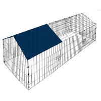 Kaninchenstall 180 x 75 cm - Deuba - aus verzinktem Stahl - mit Sonnenschutz - abnehmbares Dach - 2 Fronttüren mit Türverschlüssen