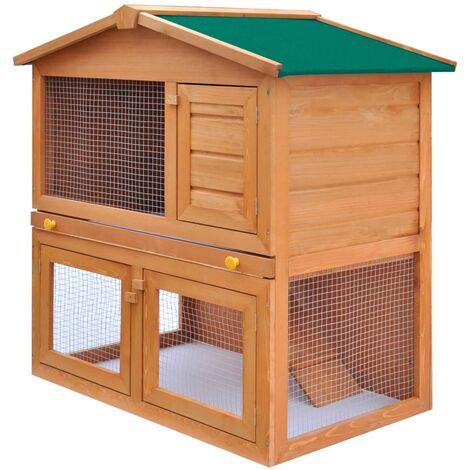 Kaninchenstall Kleintierhaus Hasenstall 3 Türen Holz