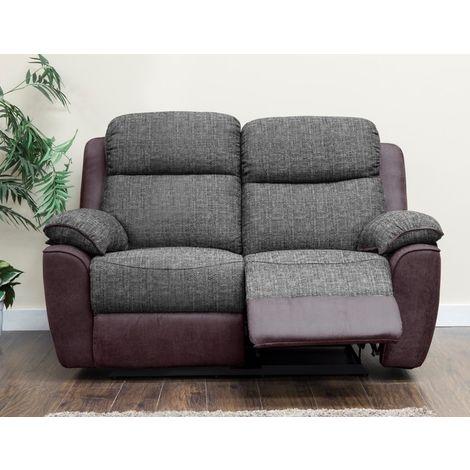 Kansas 2 Seater Reclining Fabric Sofa Brown