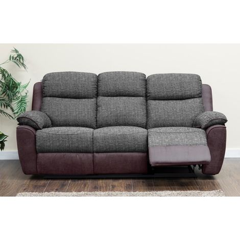 Kansas 3 Seater Reclining Fabric Sofa Brown