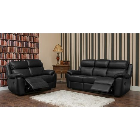 Kansas Reclining 3+2 Leather Sofa Suite Available In Black