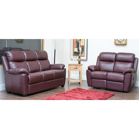 Kansas Reclining 3+2 Leather Sofa Suite Available In Black, Brown, Wine Or Cream