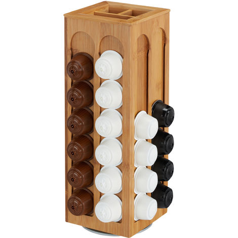 Kapselhalter für Dolce Gusto Kaffeekapseln, drehbar, Kaffee Kapselspender, Bambus, HBT: 40,5x14x14 cm, natur