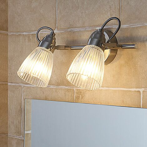 Kara bathroom wall lamp with fluted glass and LED