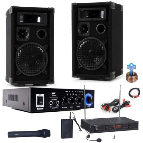 Karaoke Anlage Bluetooth Verstärker Mikrofon DJ-Compact 6