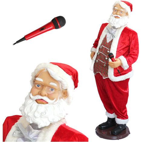 Karaoké Père Noël de 150cm présentoir avec micro. Chante, danse et bouge même ses lèvres Noël Saint Nicolas