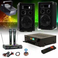 Karaoke Set mit Bluetooth Receiver, Funkmikro und LED Strobe