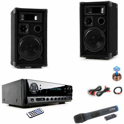 Karaoke Set mit Bluetooth Verstärker Funkmikrofon DJ-Black Star