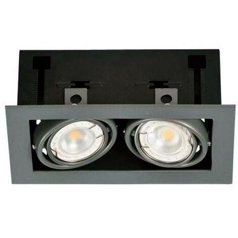 Kardan de acero para dos bombillas dicroicas GU10 | Gris