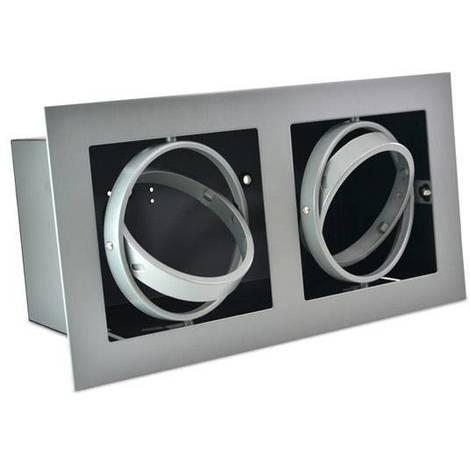 Kardan de acero para dos bombillas QR111 LED | Gris