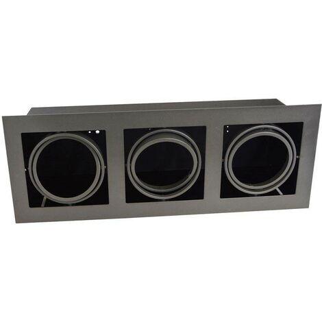 Kardan de acero para tres bombillas QR111 LED | Gris